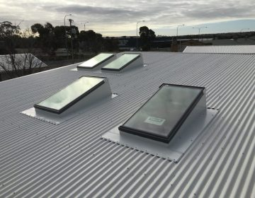 Multiple Velux Skylights in an Iron Roof
