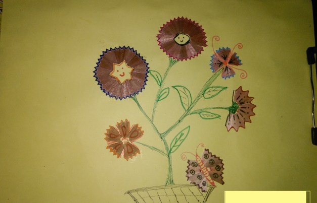 Diy craft pencil shaving flowers craft best out of waste for Best out of waste for kids