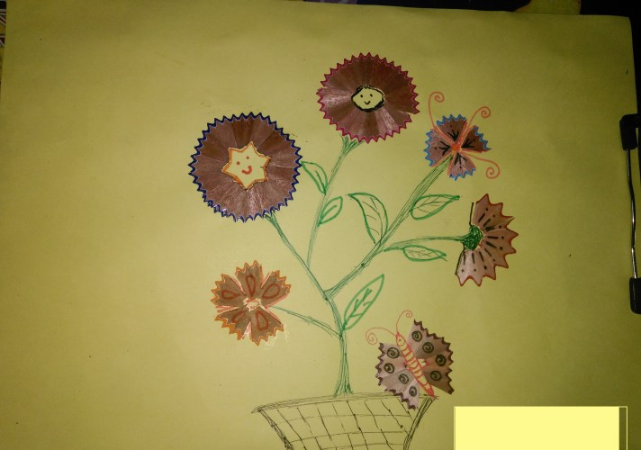 Diy craft pencil shaving flowers craft best out of waste for Best out of waste paper craft
