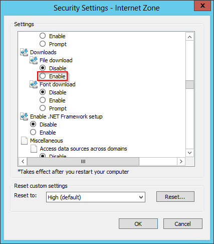 Server 2012 > IE Error > security settings don't allow download