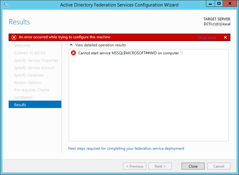 Solved] ADFS 3 0 > Cannot start service MSSQL$MICROSOFT##WID