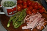 Спаржа, ветчина, зеленый горошек, помидоры черри