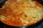 Выкладываем тальятелли в сковороду с соусом