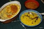 Южноафриканский ужин: боботи, желтый рис и чатни из кураги