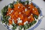 Трехцветный салат из моркови, щавеля и козьего сыра
