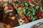 Роллы из баклажанов с бараньим фаршем под кисло-сладким томатным соусом