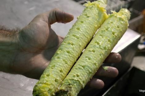 Ножи станка ровным слоем срезают зерна с початков