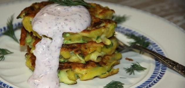 Оладушки из кабачка и картофеля
