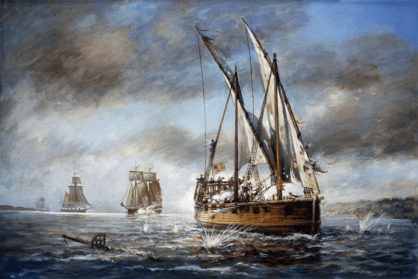 image of a painting of the Congress (ship) escaping the British fleet