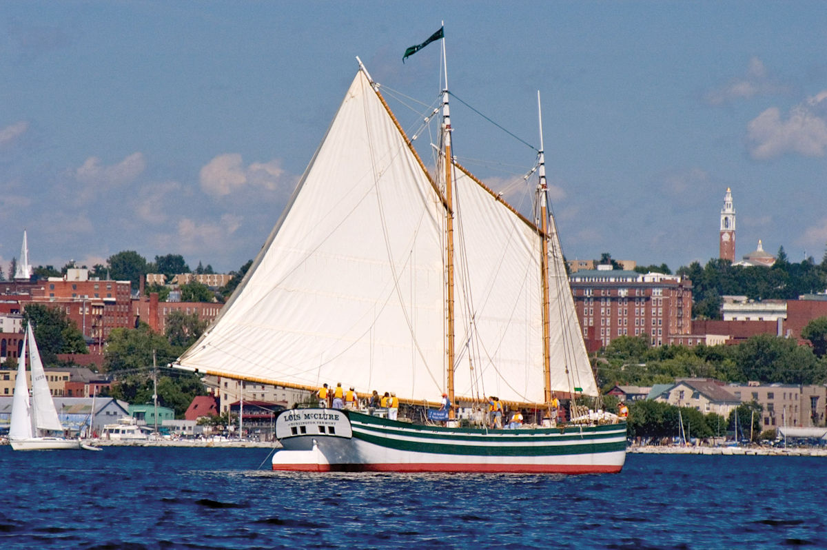 Image of our replica sailing canal boat Lois McClure coming into of the Burlington waterfront.