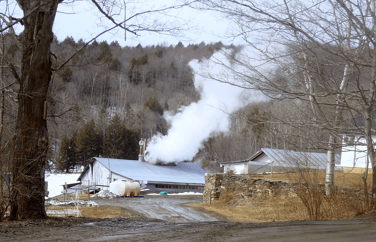 Image sugarshack with steam coming out
