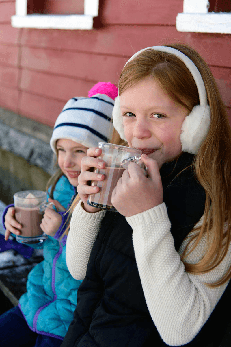 Image of children sipping hot chocolate from Lake Champlain Chocolates