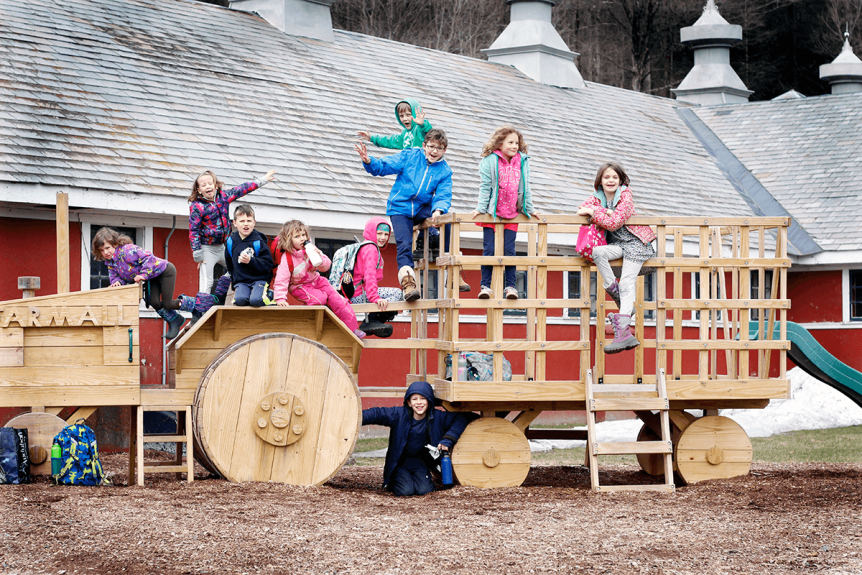 Image of kids on tractor