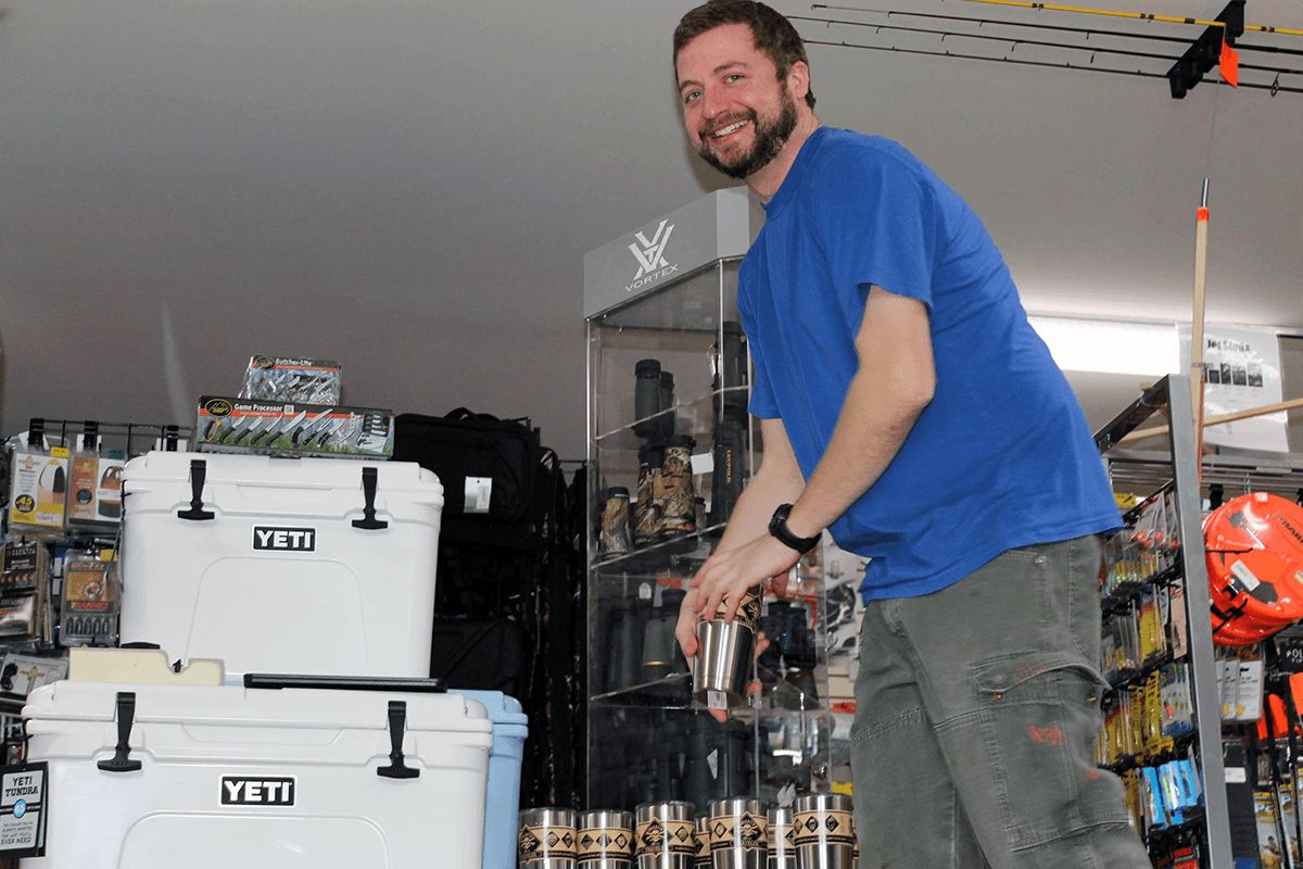 Image of paul with Yeti coolers at Farm-Way