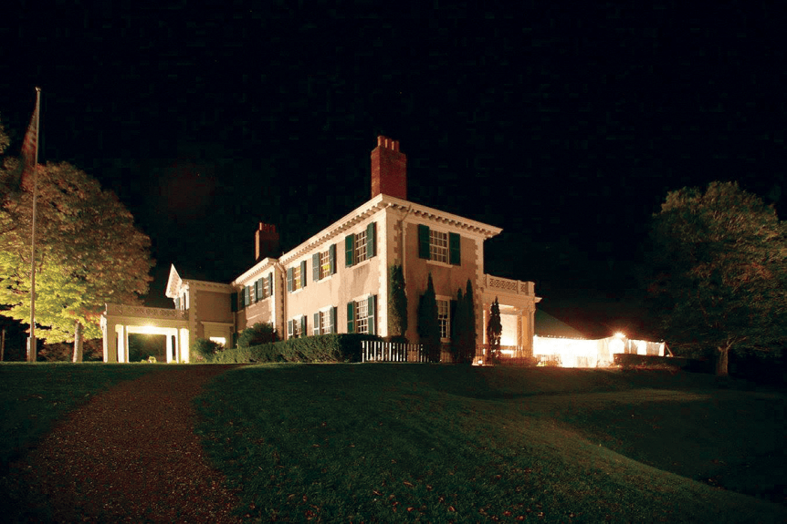 Night photo of house at Hildene, The Lincoln Family Home