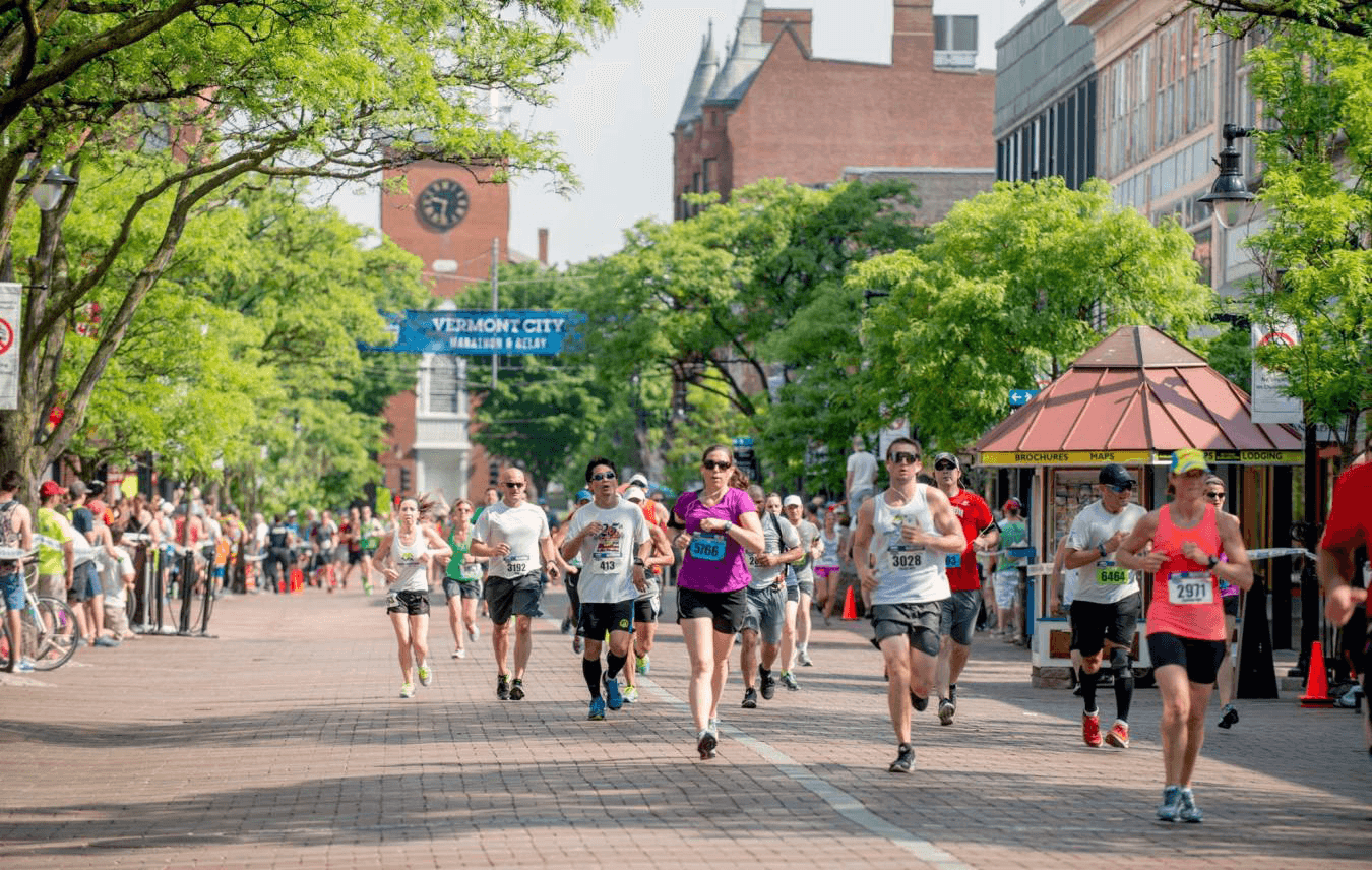 Image of runners for the Vermont City Marathon on Church Street Marketplace