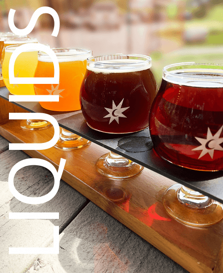 Image of a flight of beer. Vermont made beer, wine, spirits, mead, and cider.