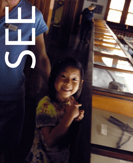 Image of little girl pointing at a museum display case. Museums and scenic locations in Vermont.