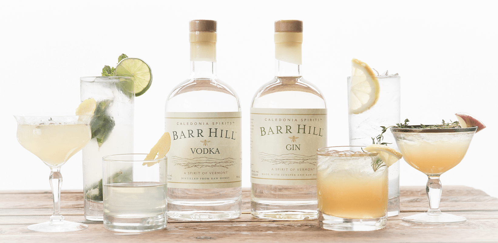 Image of cocktails made with Barr Hill Vodka and Barr Hill Gin