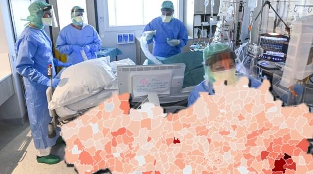اصابات فيروس كورونا في بلجيكا علي حسب الخريطة