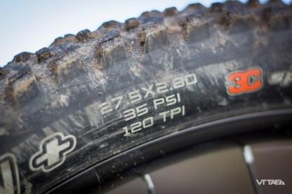 Les pneus ont souffert mais on distingue toujours leur dimension : 27.5x2.8 ! C'est bien du Plus monté d'origine.