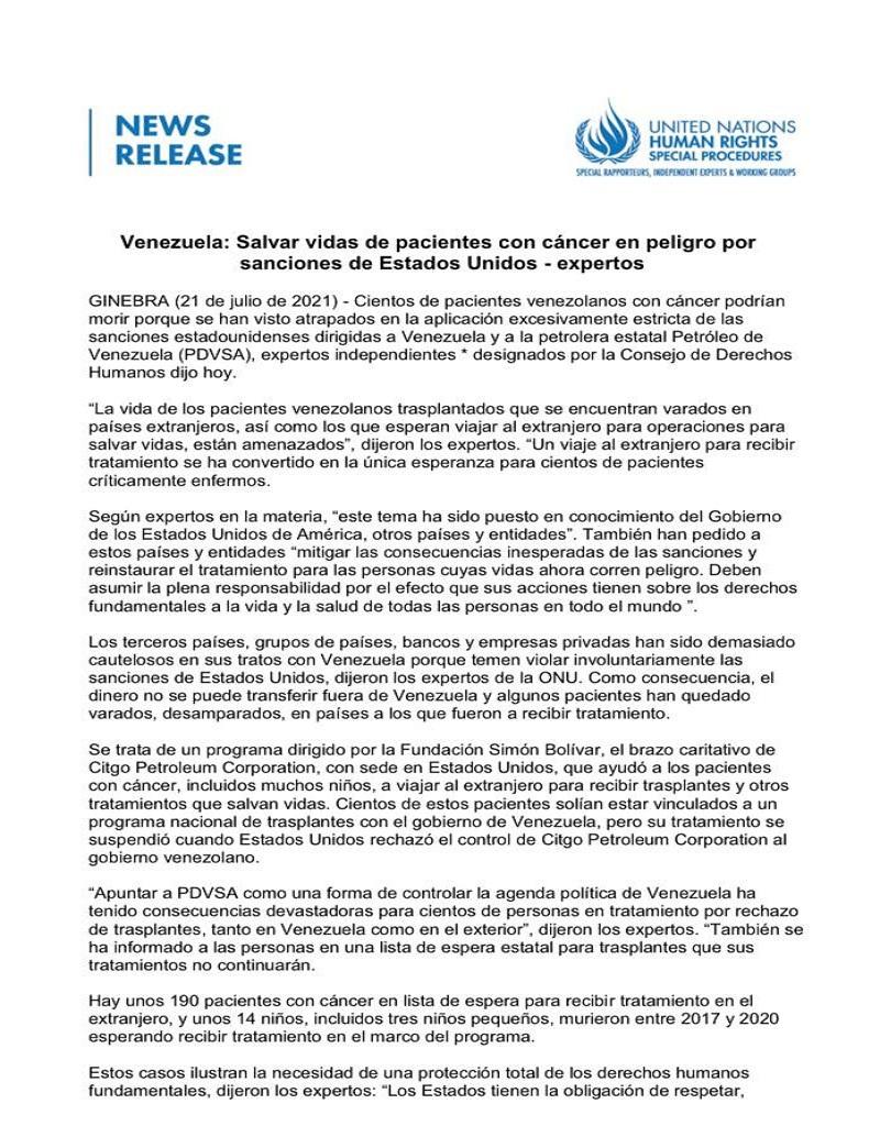 Relatores y Expertos de Naciones Unidas denuncian a EE.UU. por impedir tratamientos de pacientes venezolanos con cáncer mediante sanciones ilegales