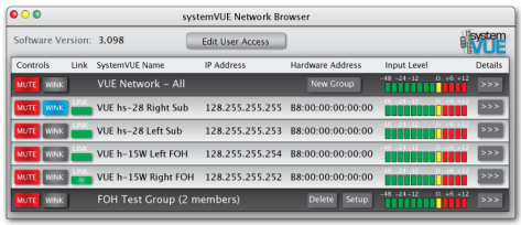 SystemVUE software's browser window shows every VUE device connected to the network