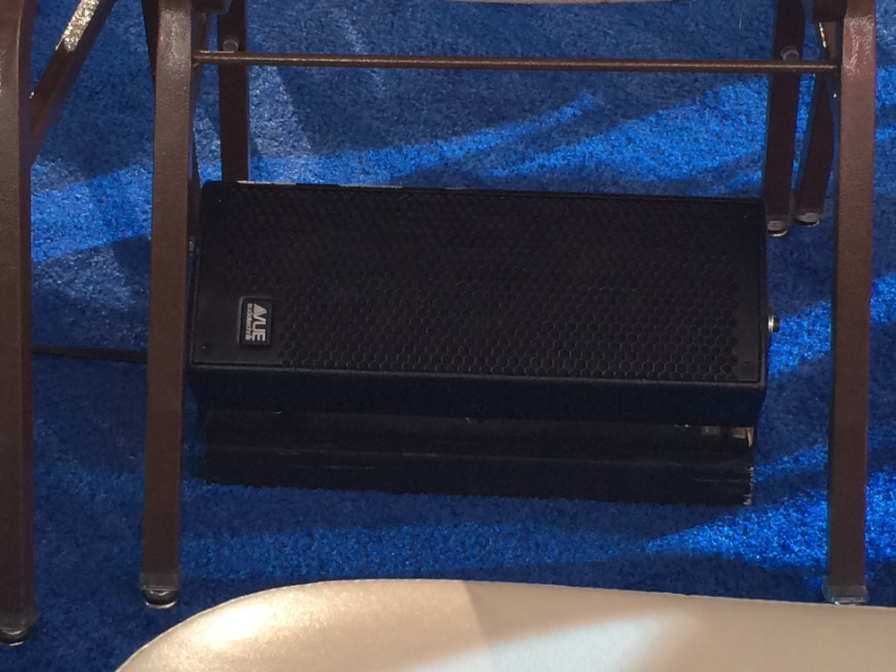 Close-up of the VUE i-Class speakers used for the CNN GOP debate.