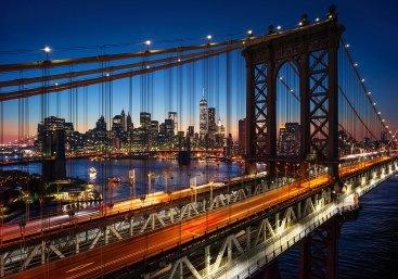 Vista de los puentes de Brooklyn y de Manhattan. Nueva York.