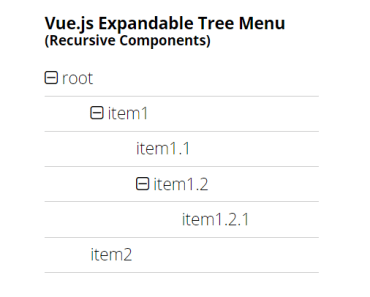Vue.js Expandable Contractable Tree Menu