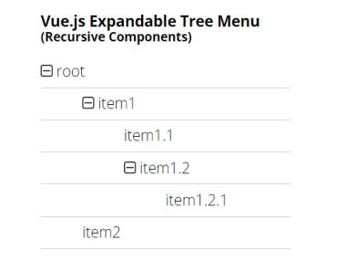 Vue.js Expandable Contractable Tree Menu