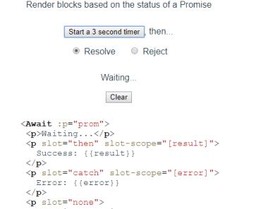 Render Blocks Based On The Status Of A Promise - vue-await