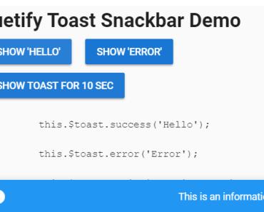 Vuetify Toast Snackbar Component
