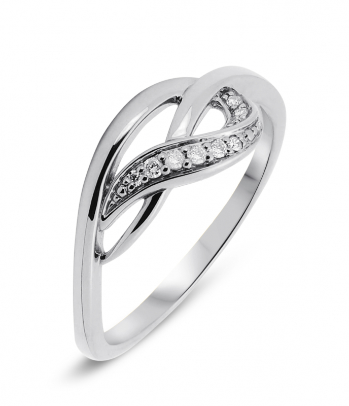 Bague Or Blanc Diamant  0 05ct  Ref  28700 Bague Or Blanc Diamant  0 05ct