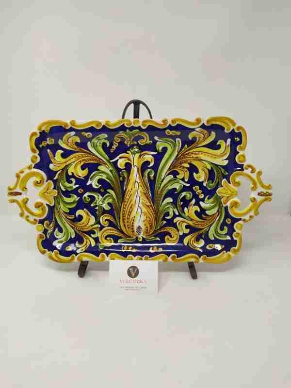 Vassoio in Ceramica di Caltagirone dipinto a mano