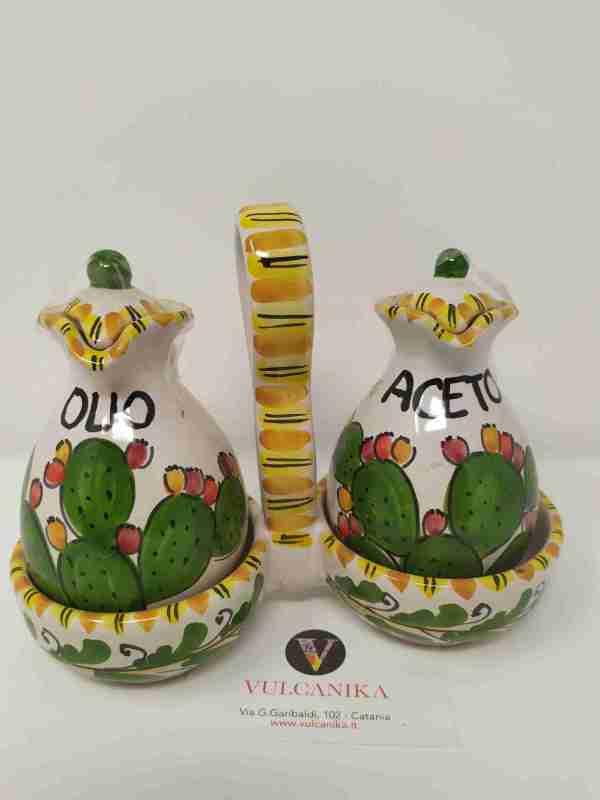 Set Olio-Aceto in ceramica di Caltagirone