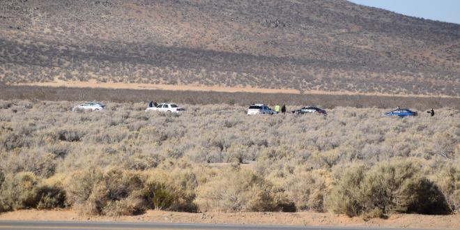 The body of an unidentified male who committed suicide was located near Bell Mountain in Apple Valley. (Photo by Lauren N David Hernandez)