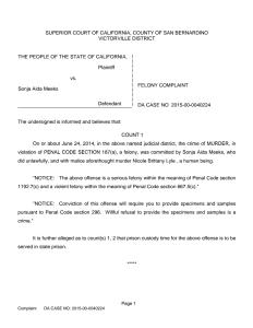 San Bernardino County District Attorney Criminal Complaint
