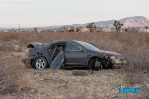 A Chevy Malibu flipped after the driver lost control of the car. (Gabriel D. Espinoza, Victor Valley News)