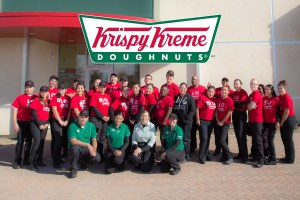 The Krispy Kreme crew of Victorville prepare for their grand opening event (Gabriel D. Espinoza, Victor Valley News)