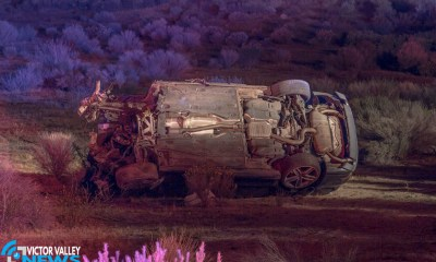 The Audi lost it's engine as it rolled down the embankment. (Gabriel D. Espinoza, Victor Valley News)