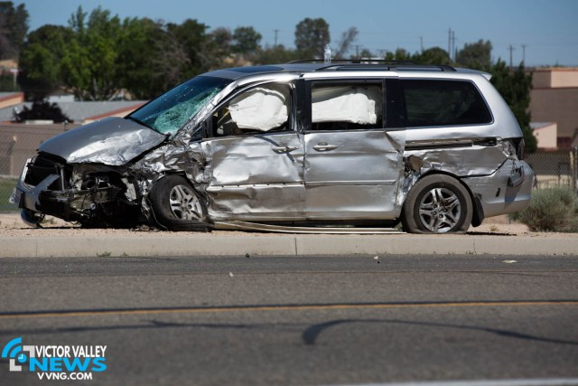A woman and two children were transported with minor injuries. (Hugo C. Valdez, Victor Valley News)