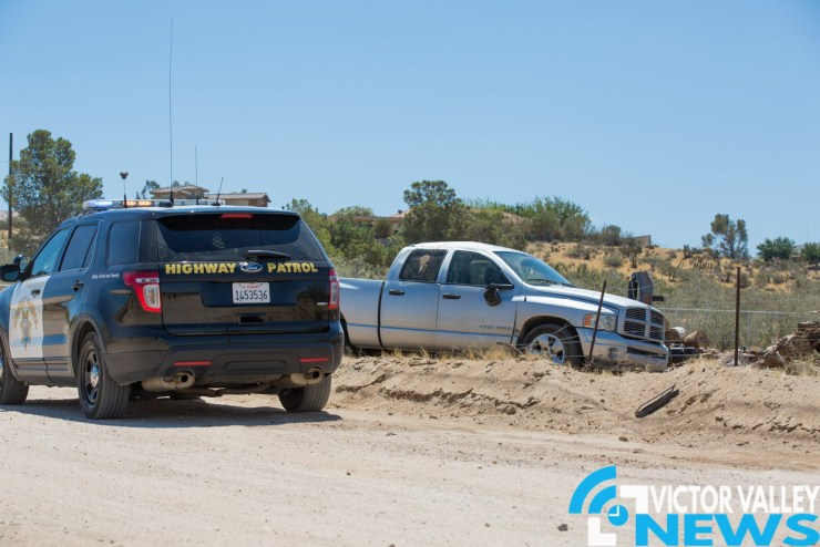 The man was partially ejected after the truck causing fatal injuries to man. (Gabriel D. Espinoza, Victor Valley News)