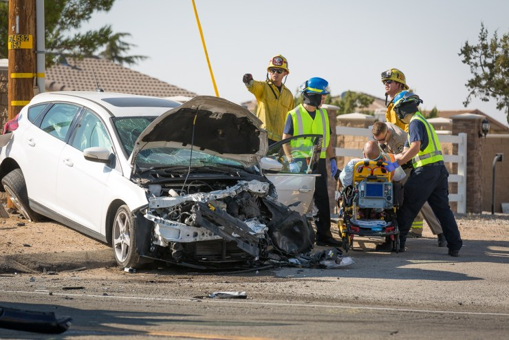A man was injured in a head-on crash on Ranchero Road in Hesperia. (Gabriel D. Espinoza, Victor Valley News)