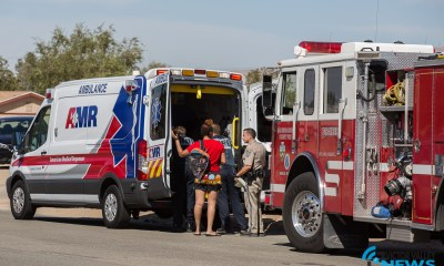 The student was transported to a local hospital after he was hit by a vehicle. (Gabriel D. Espinoza, Victor Valley News)