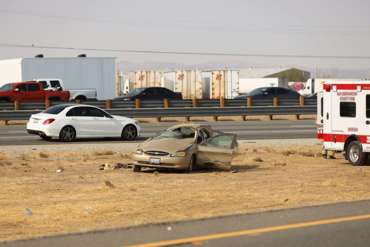 This vehicle rolled several times off the Joshua Road onramp. (Gabriel D. Espinoza, Victor Valley News)