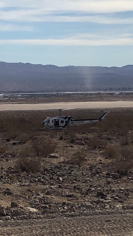 Air Rescue 06 landed at the scene and assited with airlifting the man to a trauma center. (photo by Shannon Freeman)