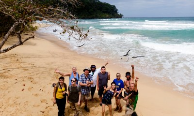 Victor Valley College's Tropical Research Initiative team is shown here on Wizard Beach, Bastimentos Island, Bocas del Toro Archipelago, Panama, after a nature hike. Back row, left to right: Janene Vitro, VVC biology professor Dr. Hinirch Kaiser, Abram Campos, Benjamin Vitro, Heather Macias and José Yáñez. Front row: Miranda Buckley, Ashley Stroup, Ruby Resendez and guide Dr. César Barrio-Amorós. (Photo courtesy of Abram Campos)