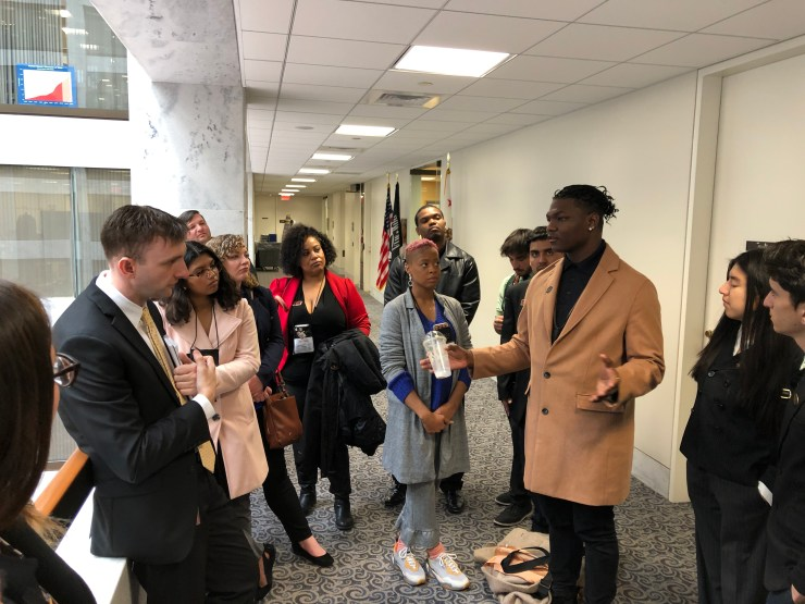 Victor Valley College student leaders met with a legislative aide from Senator Feinstein's office, discussing issues relevant to community college students. (Photo: Victor Valley College)