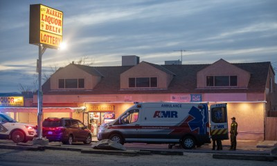 The victim was in a vehicle parked outside the Helendale Market. (Hugo C. Valdez, Victor Valley News)